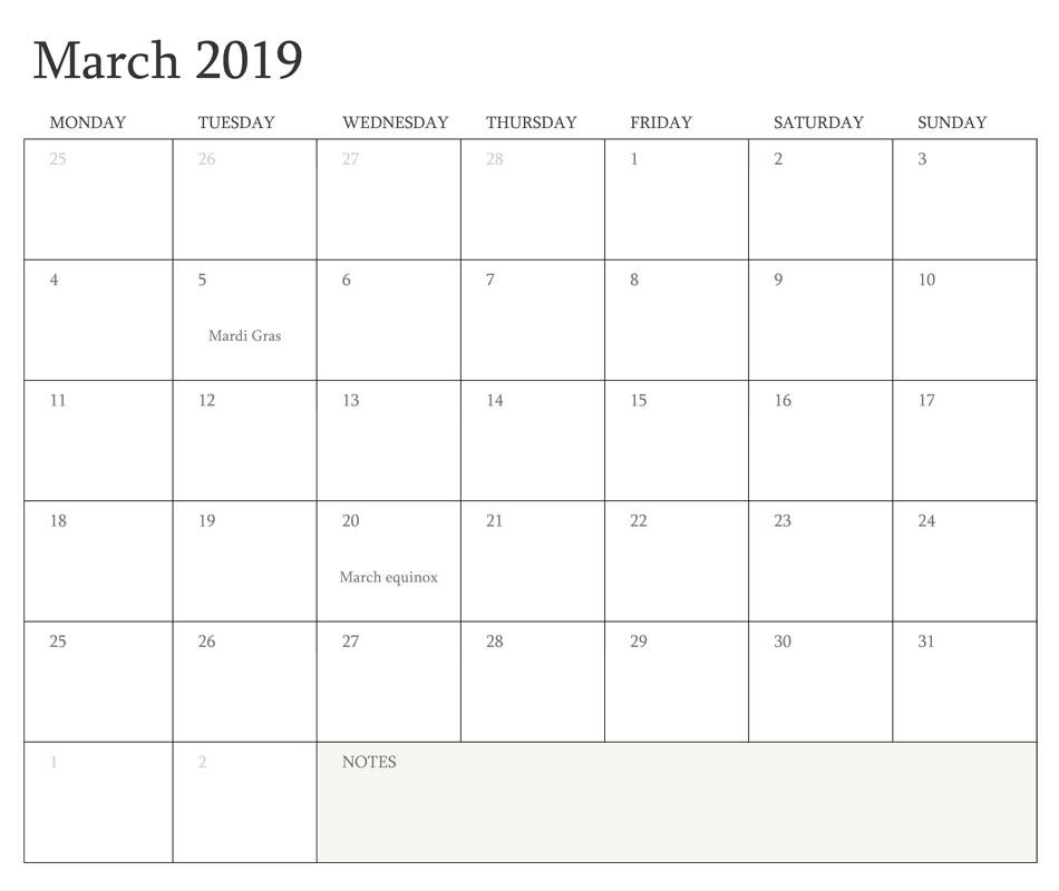 March Calendar 2019 Canada