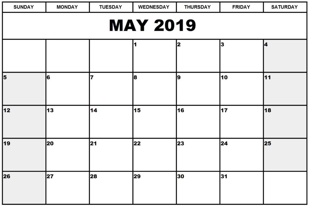May 2019 Calendar Printable Free