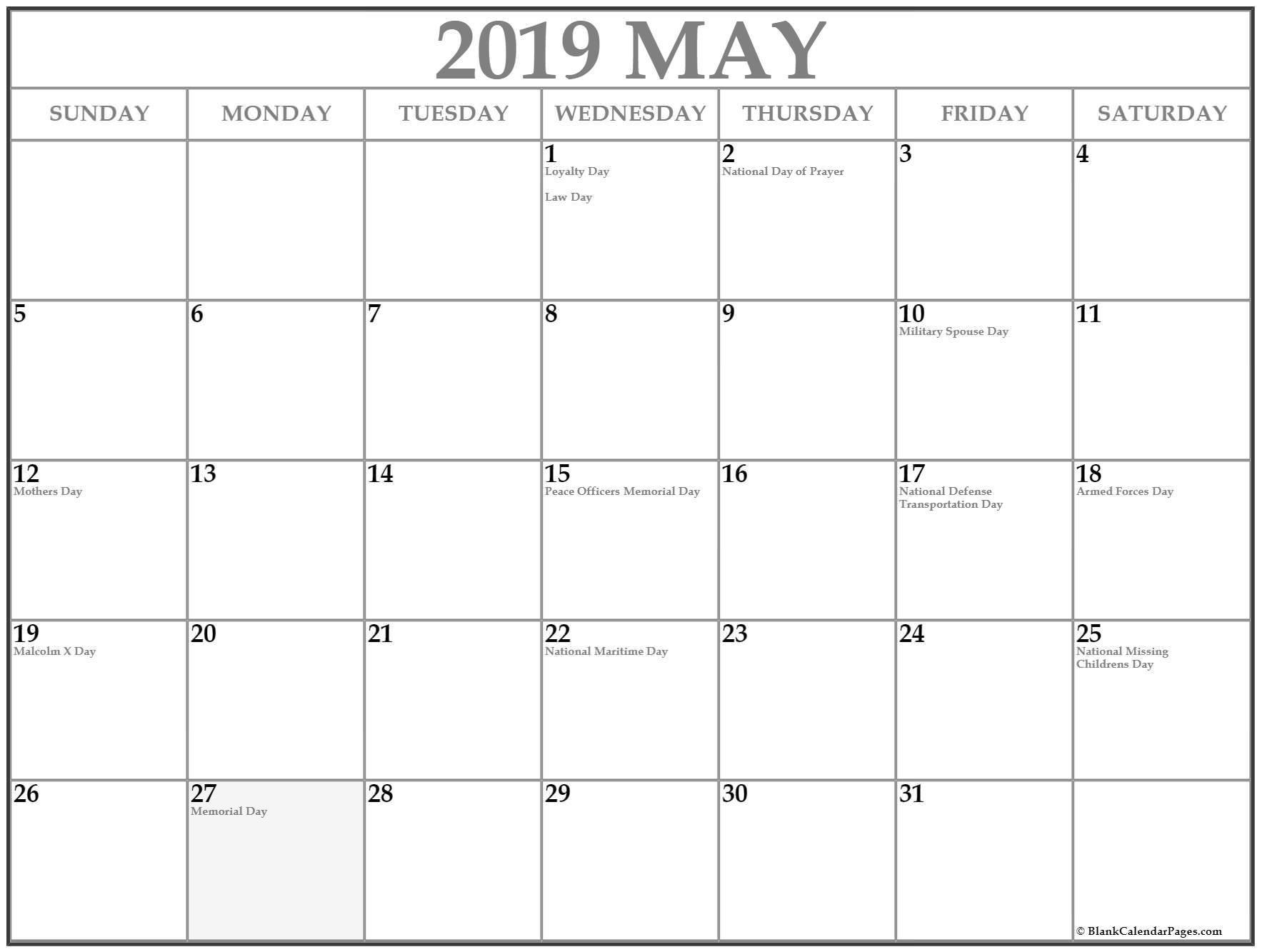 May 2019 Calendar Printable With Holidays