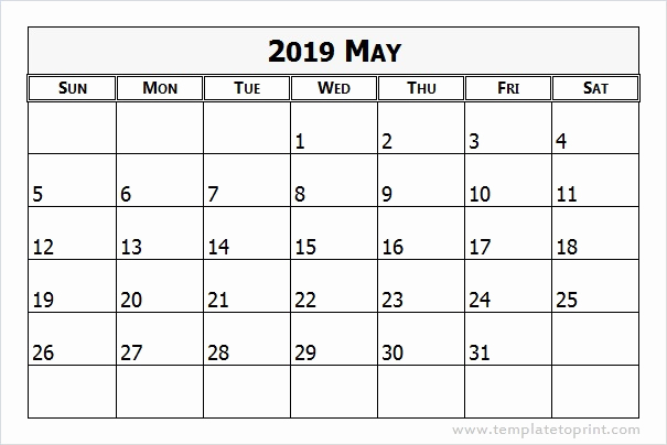 May 2019 Calendar Template Excel