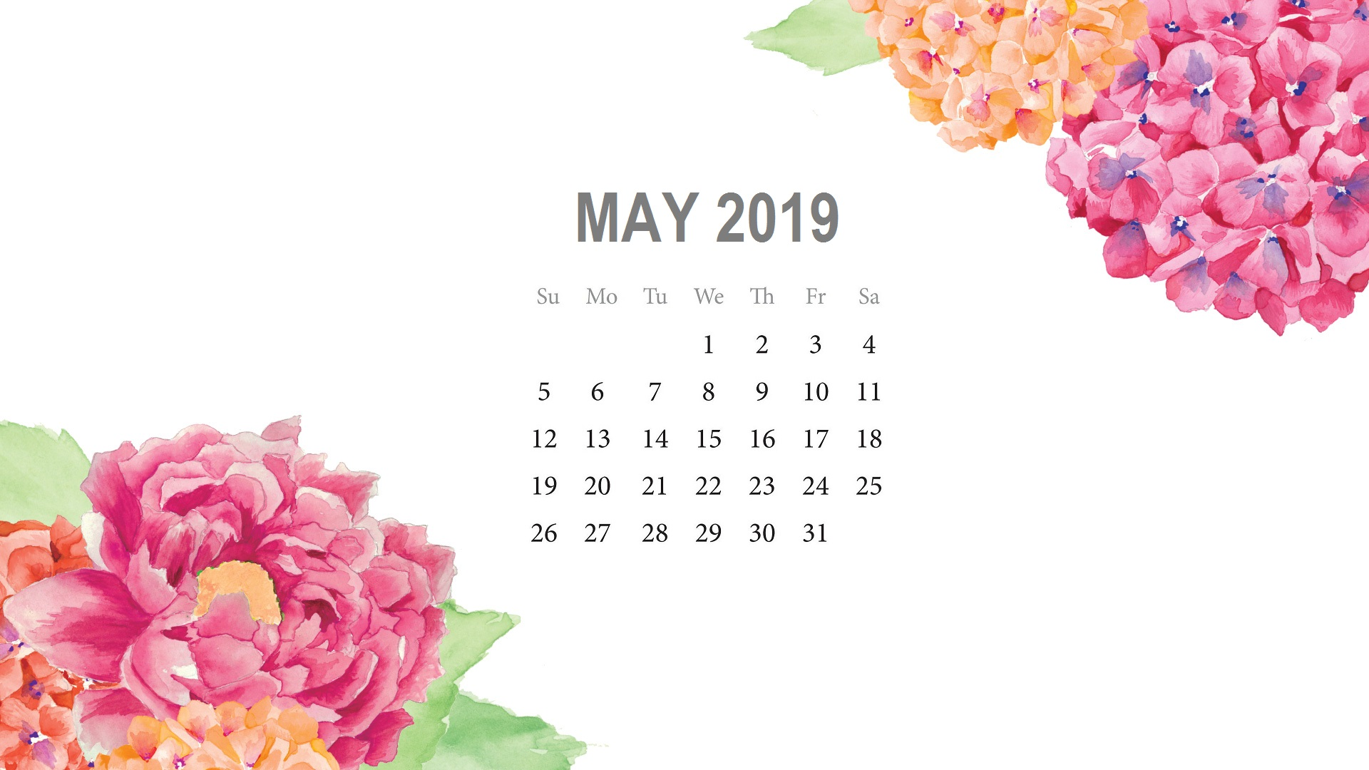 May 2019 Desktop Background Calendar
