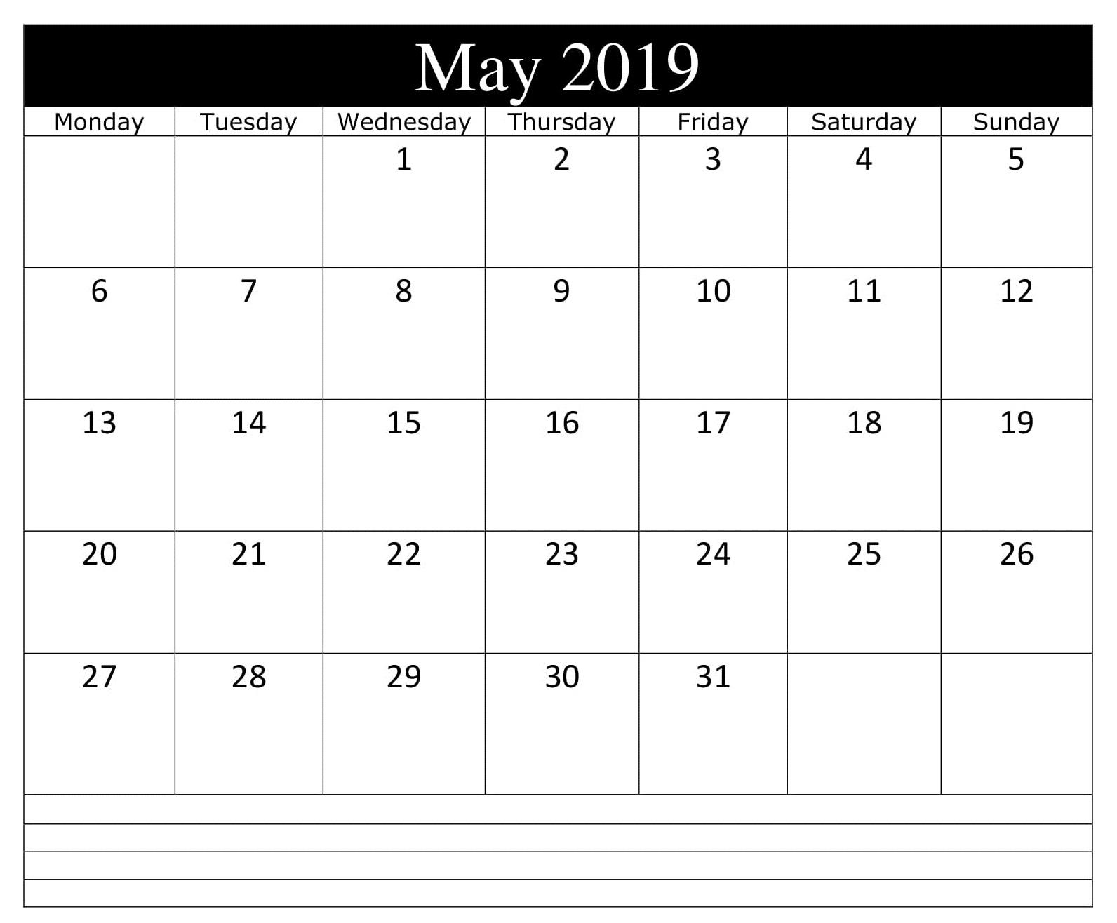 May Blank 2019 Calendar PDF