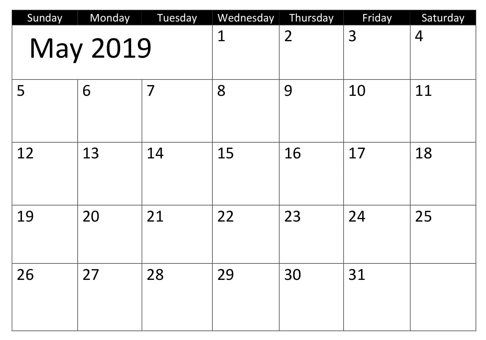 May Blank 2019 Calendar With Holiday
