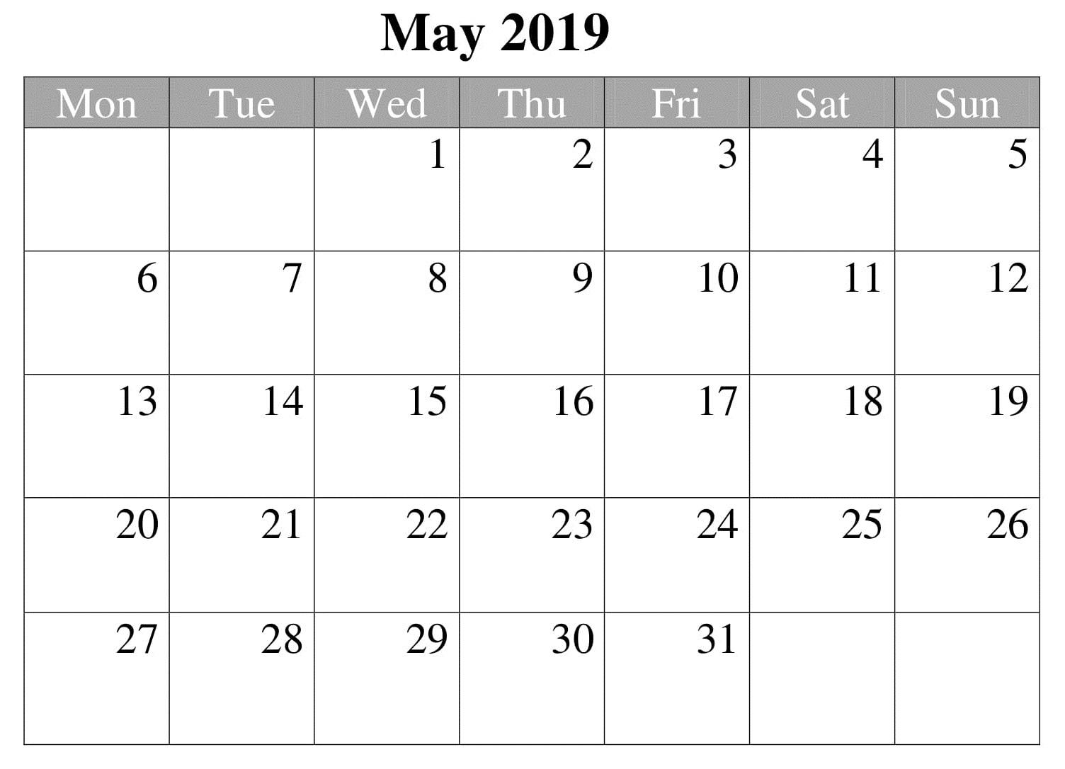 May Blank 2019 Editable Calendar