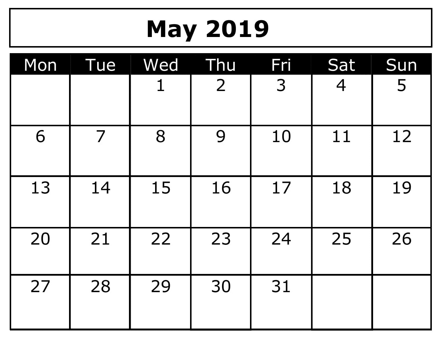 May Blank 2019 Free Calendar