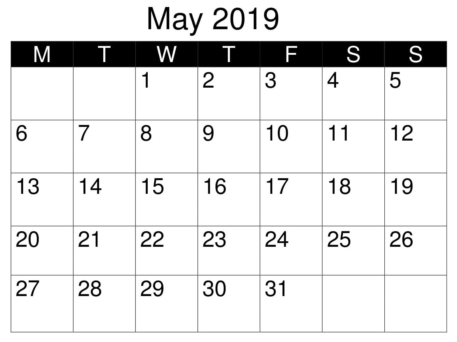 May Blank 2019 Template Calendar