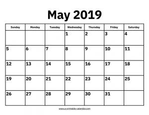 May Calendar 2019 Blank