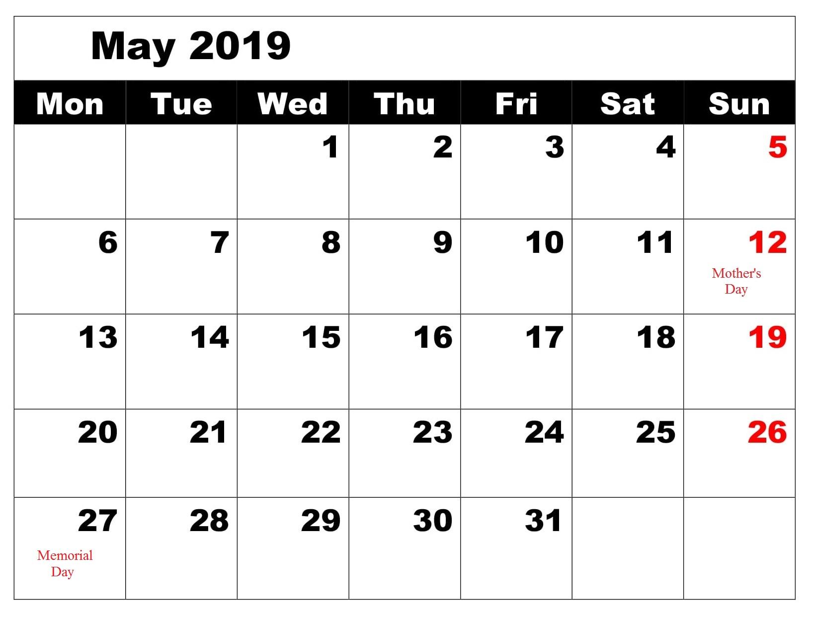 May Calendar 2019 Blank With Holidays