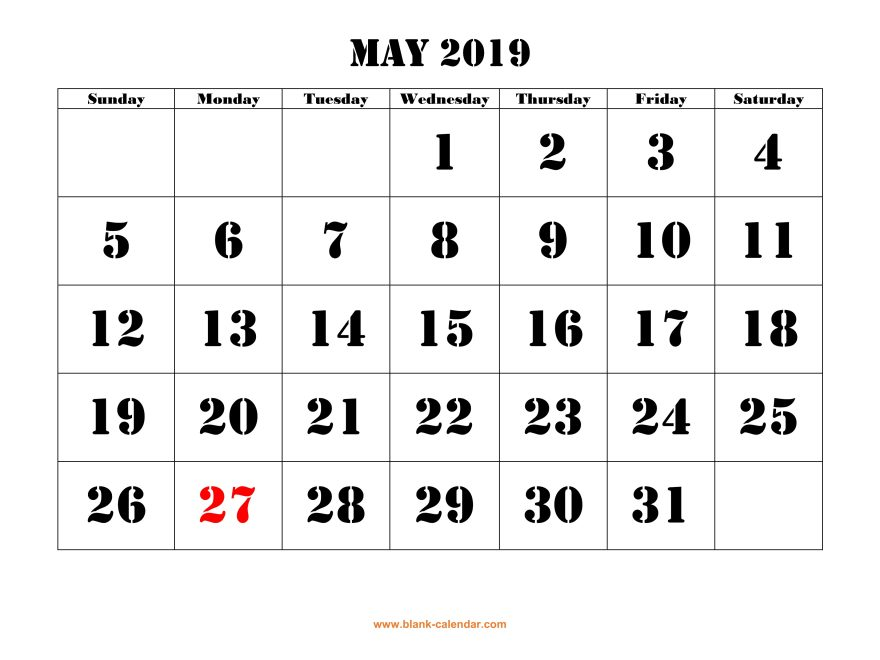 May Calendar 2019 UK
