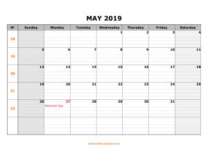May Calendar 2019 With Holidays
