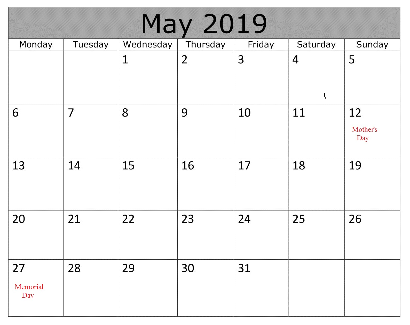 May Calendar 2019 With Holidays Excel