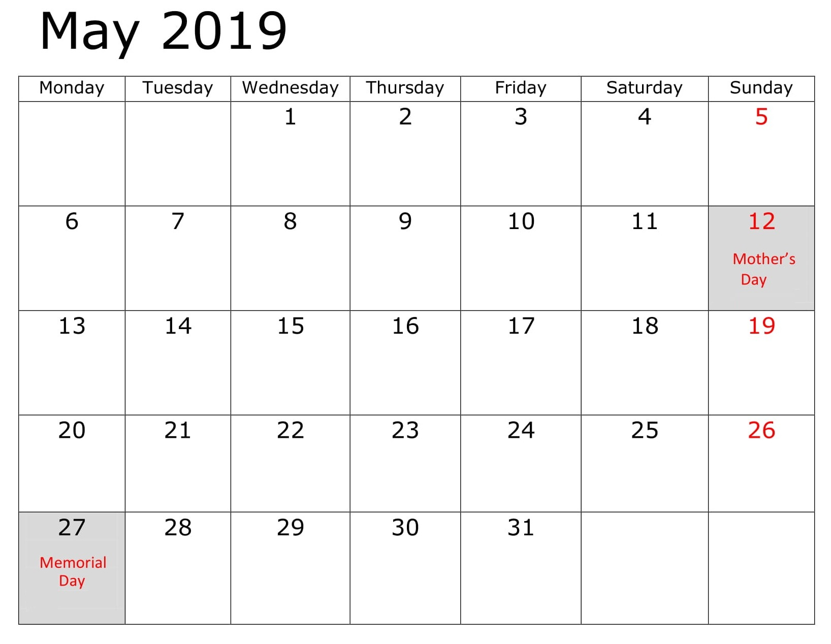 May Calendar 2019 With Holidays Word