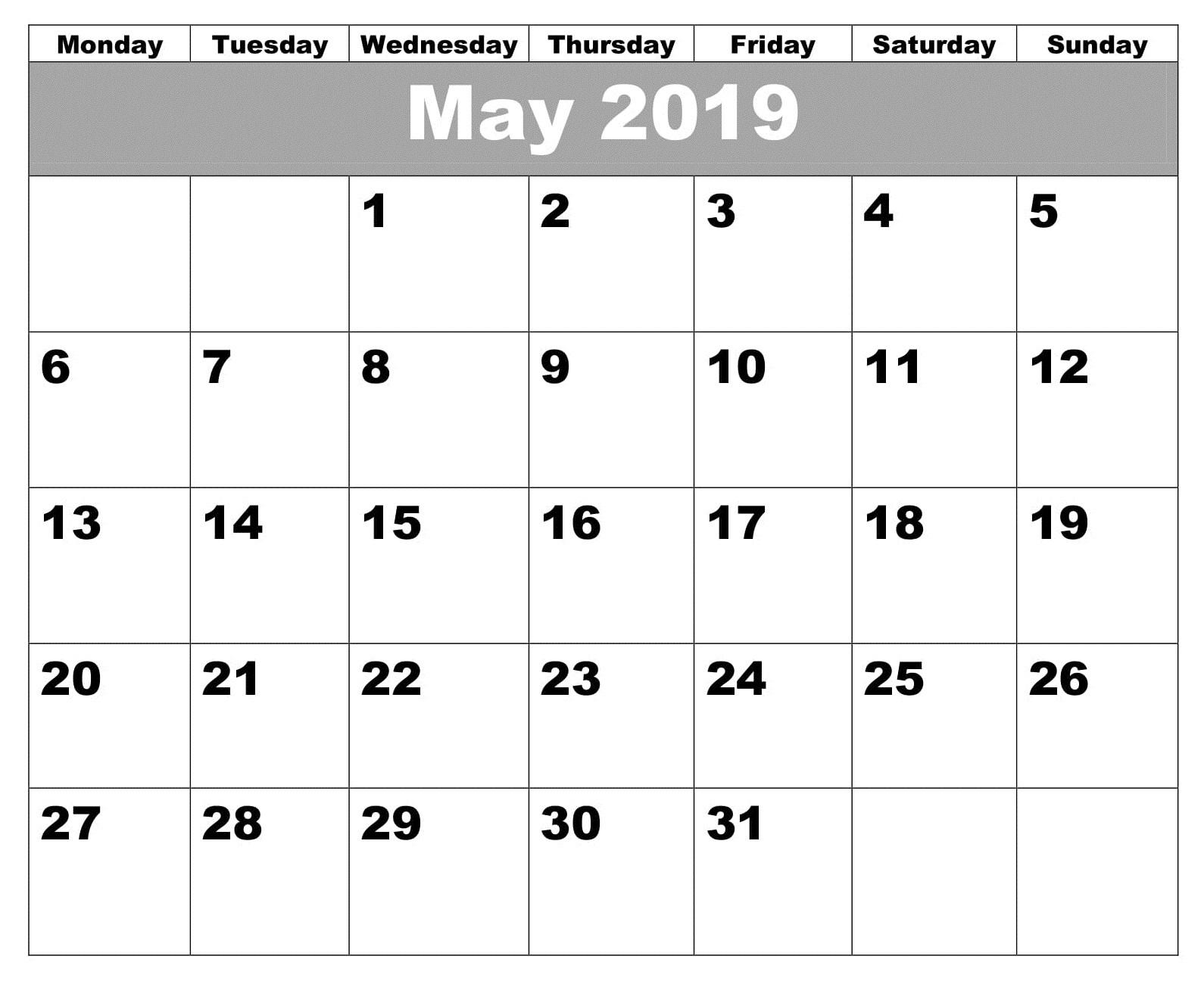 May Printable 2019 Calendar PDF