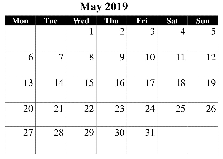 May Printable Blank 2019 Calendar