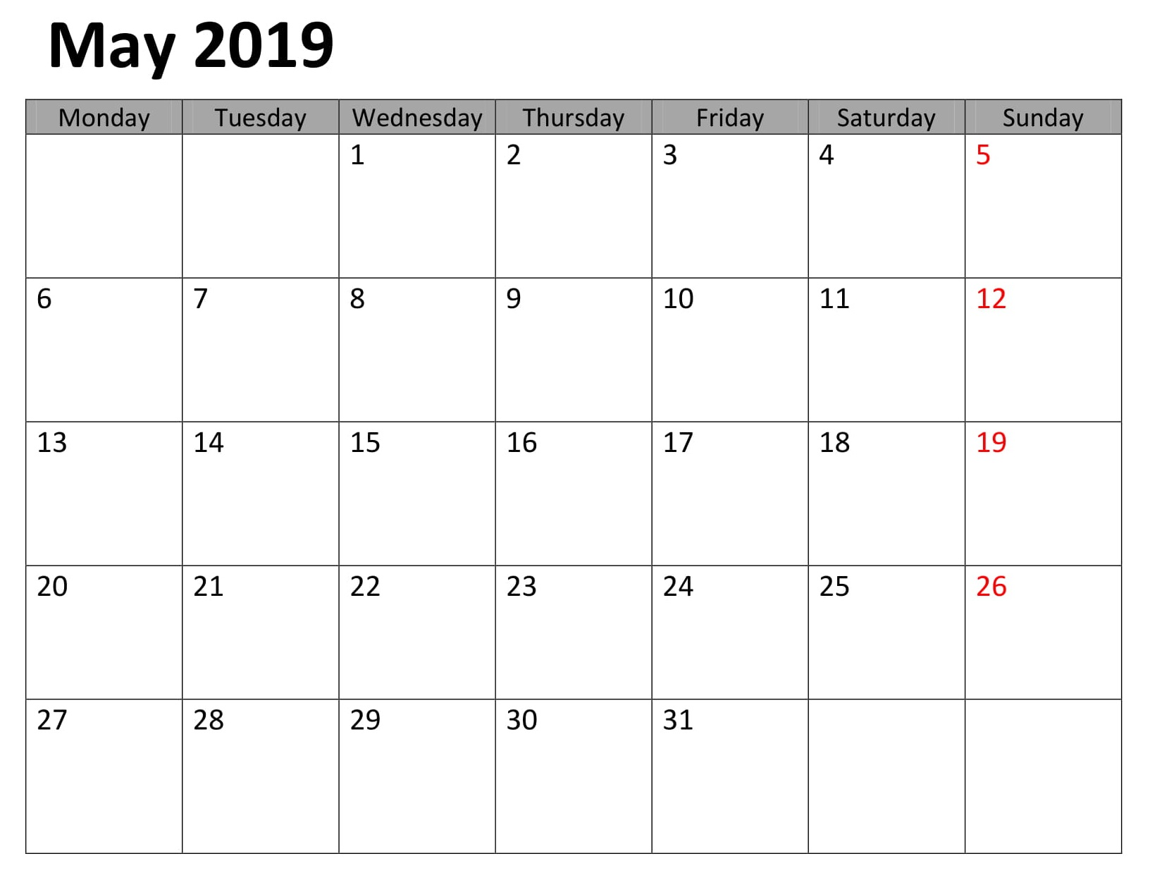 May Printable Table 2019 Calendar