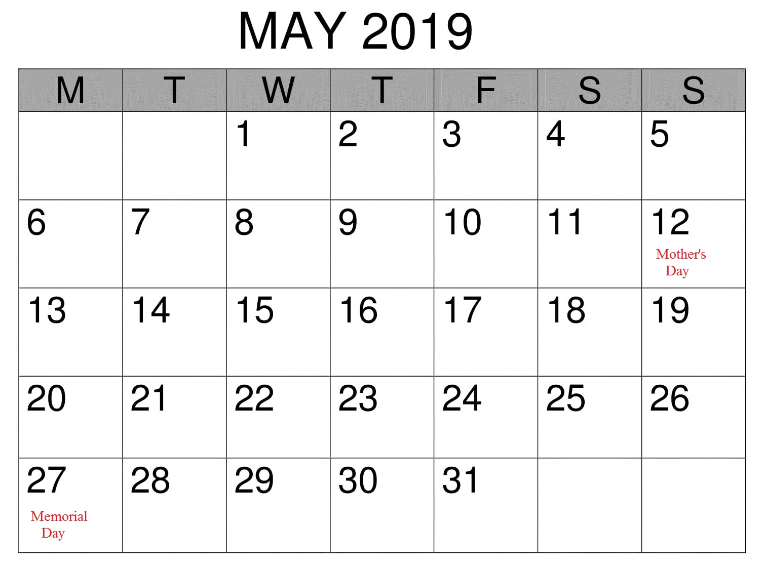 May Professional 2019 Calendar With Holidays