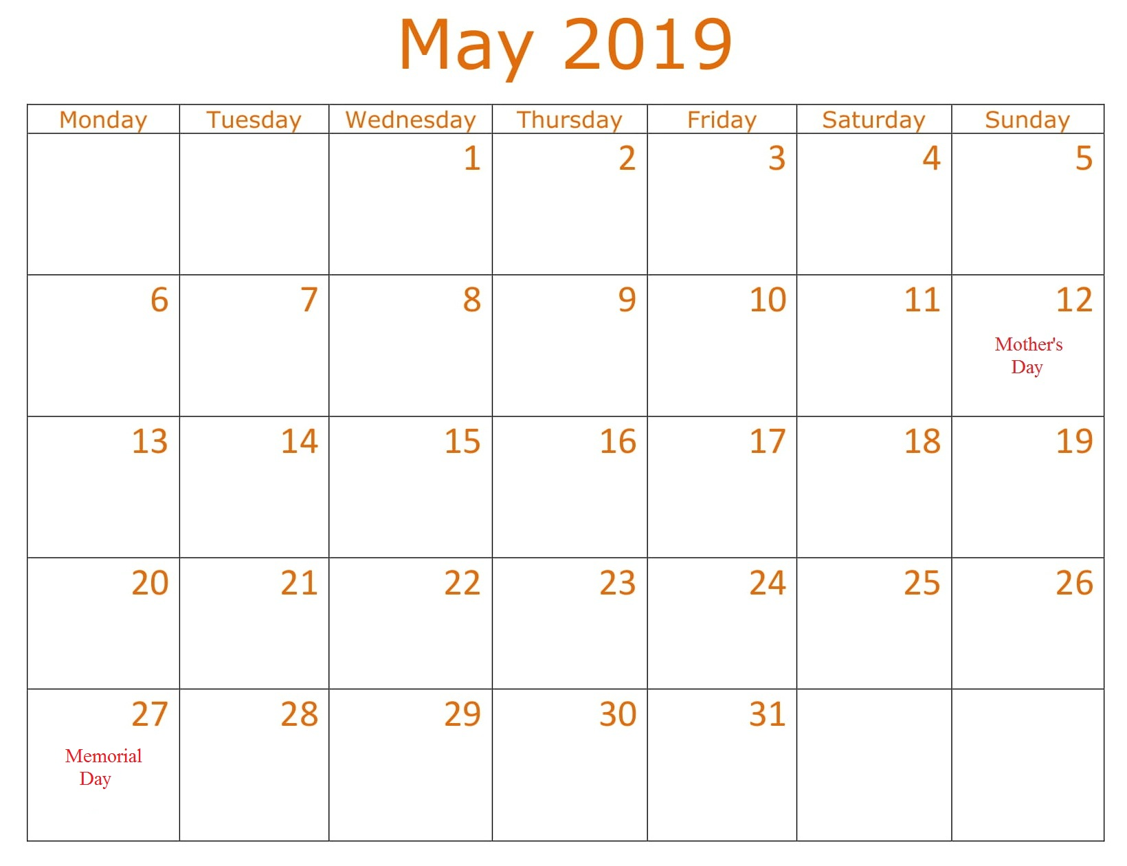 May Table Calendar 2019 With Holidays