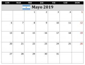 Mayo Calendario 2019 Argentina Excel