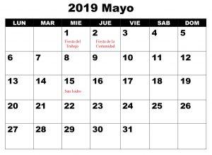 Mayo Calendario 2019 Con Festivos Excel