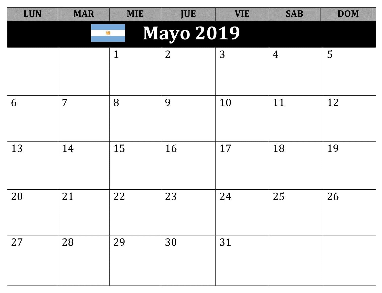 Mayo Calendario Estilos 2019 Argentina