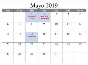 Mayo Calendario Formato 2019 Con Festivos