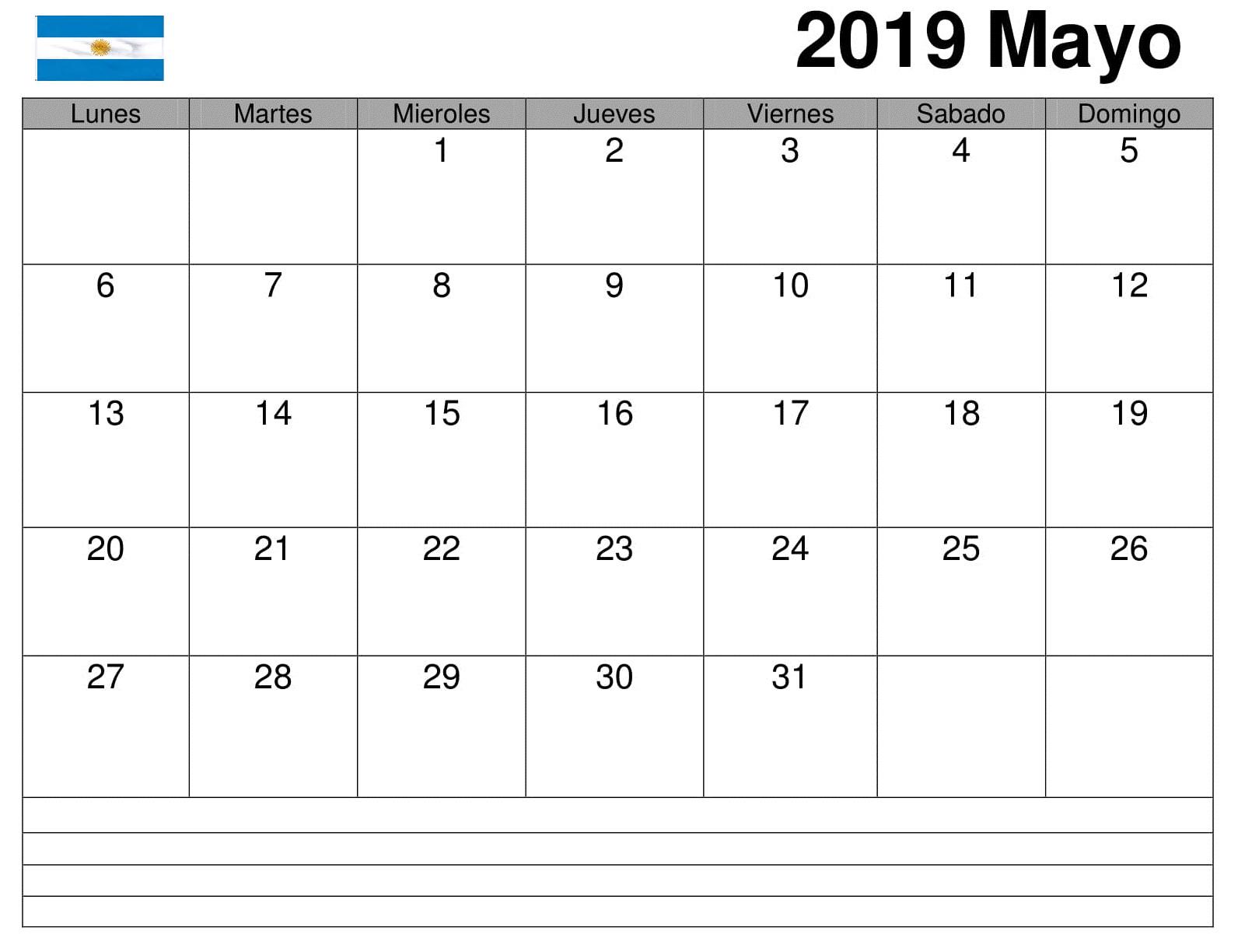 Mayo Calendario Grande 2019 Argentina