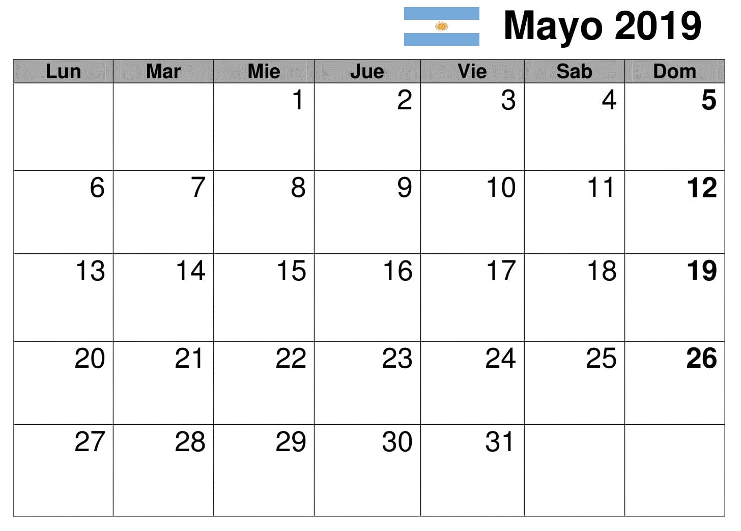Mayo Calendario Mensual 2019 Argentina