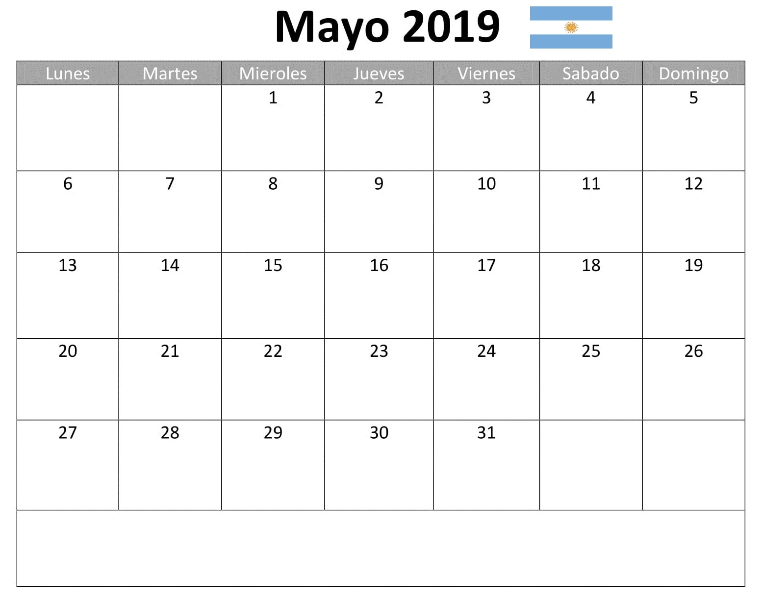 Mayo Calendario Mes 2019 Argentina