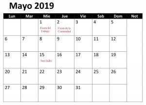 Mayo Calendario Mes 2019 Con Festivos