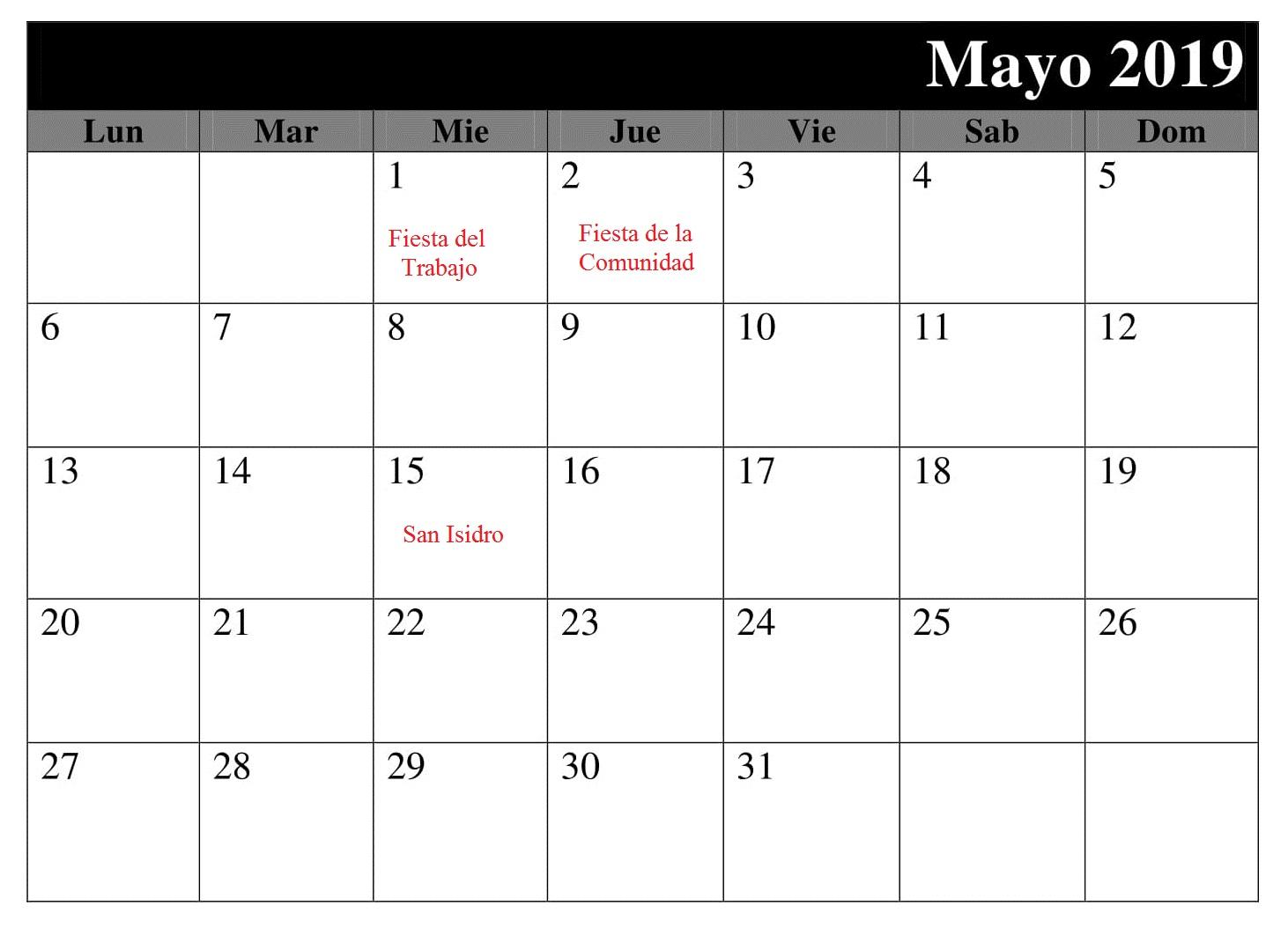 Mayo Calendario Titulo 2019 Con Festivos