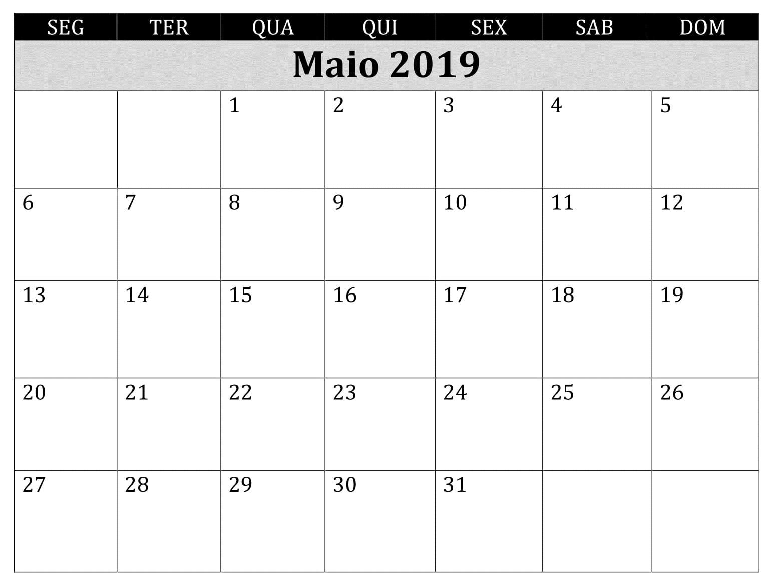 Mesa Calendário 2019 Maio