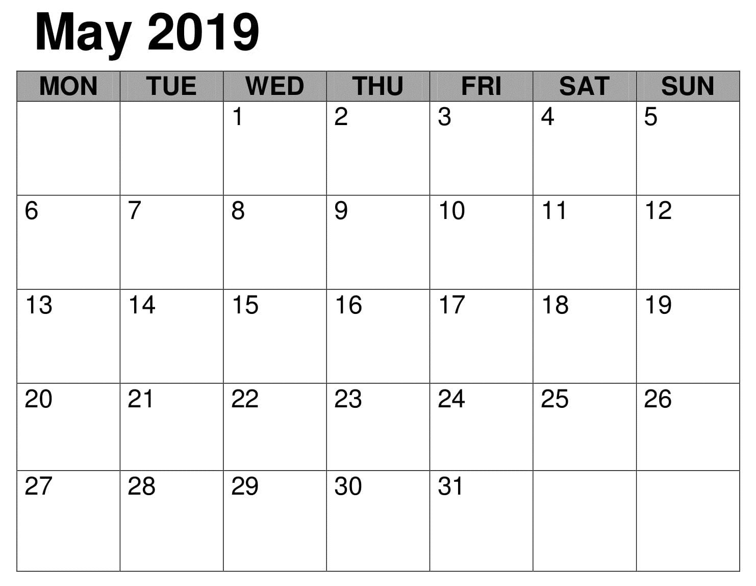 Notes Blank May 2019 Calendar