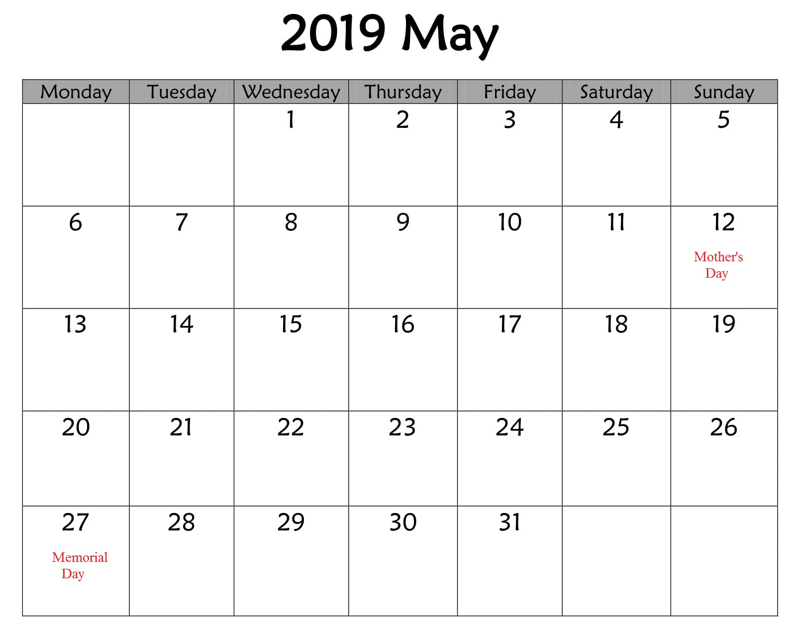 Notes May 2019 Calendar With Holidays