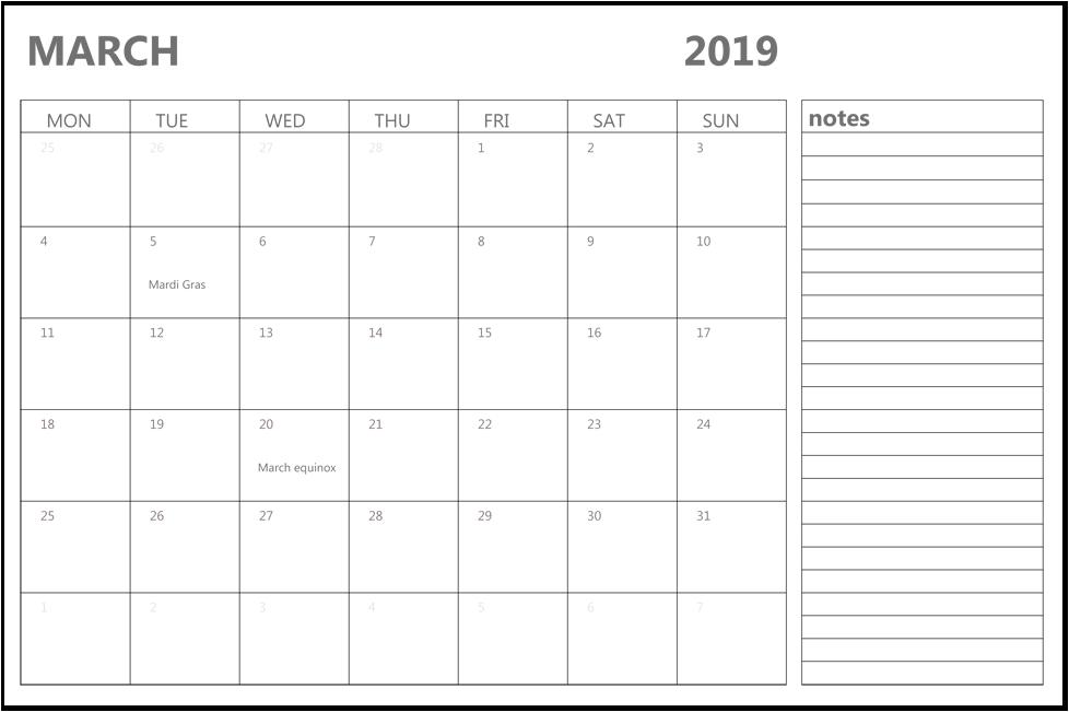 Print March 2019 Calendar Canada
