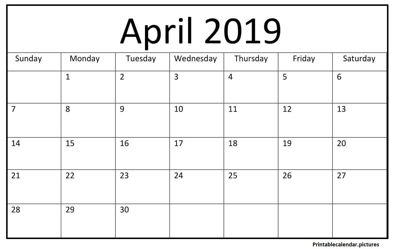 Printable April 2019 Blank Calendar