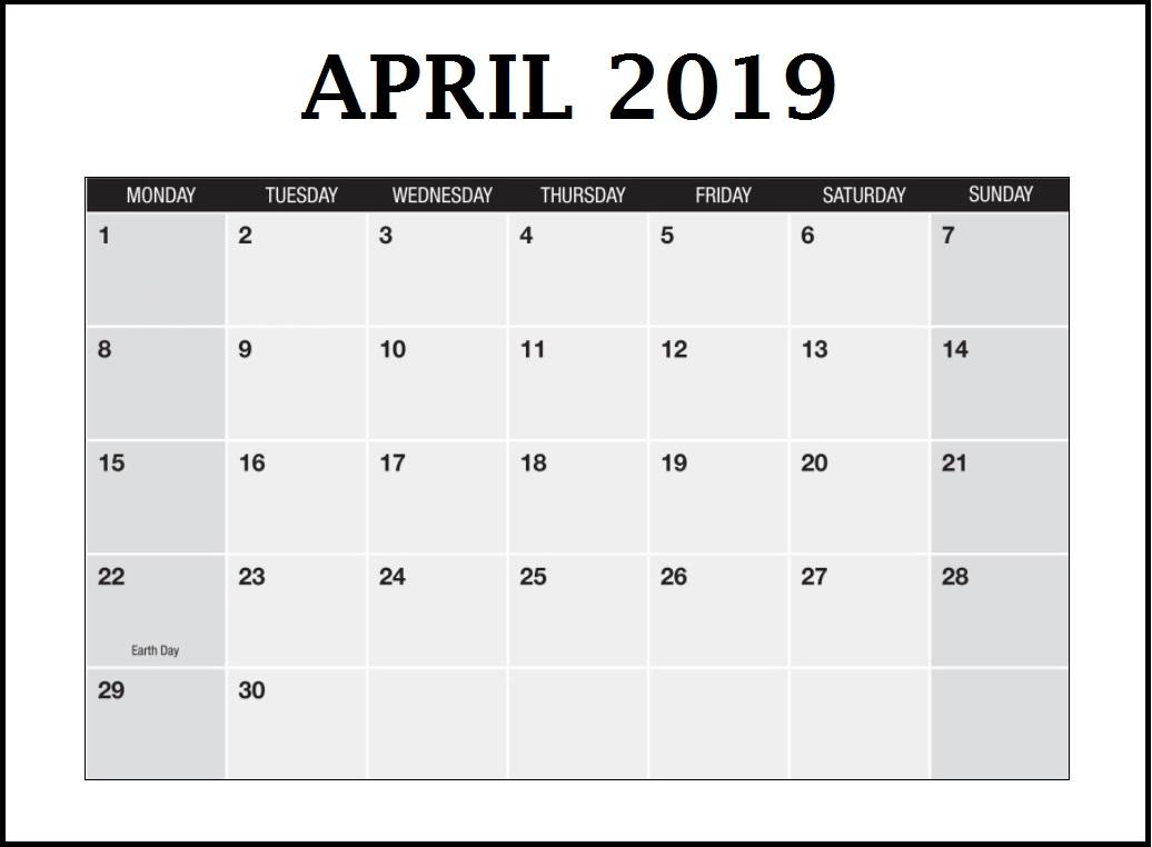 Printable April 2019 Blank Template
