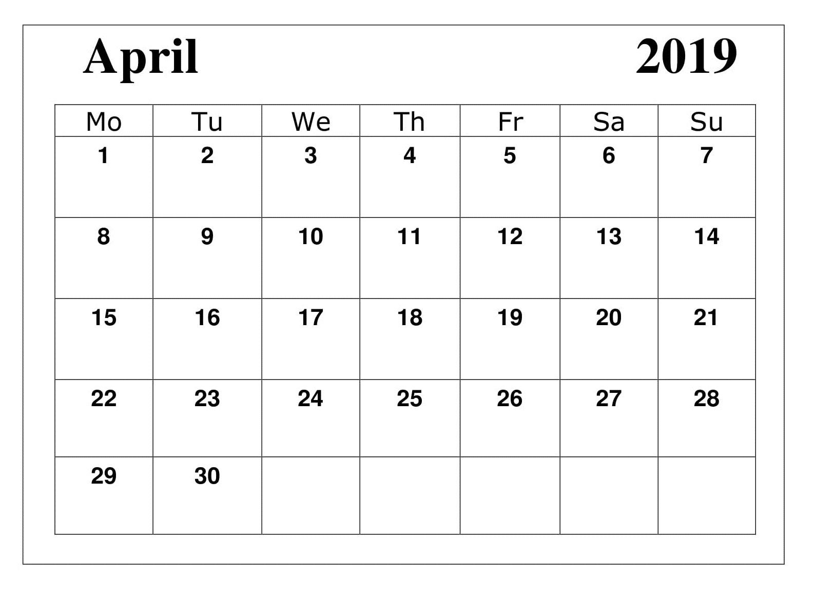 Printable April 2019 Moon Calendar Calendar