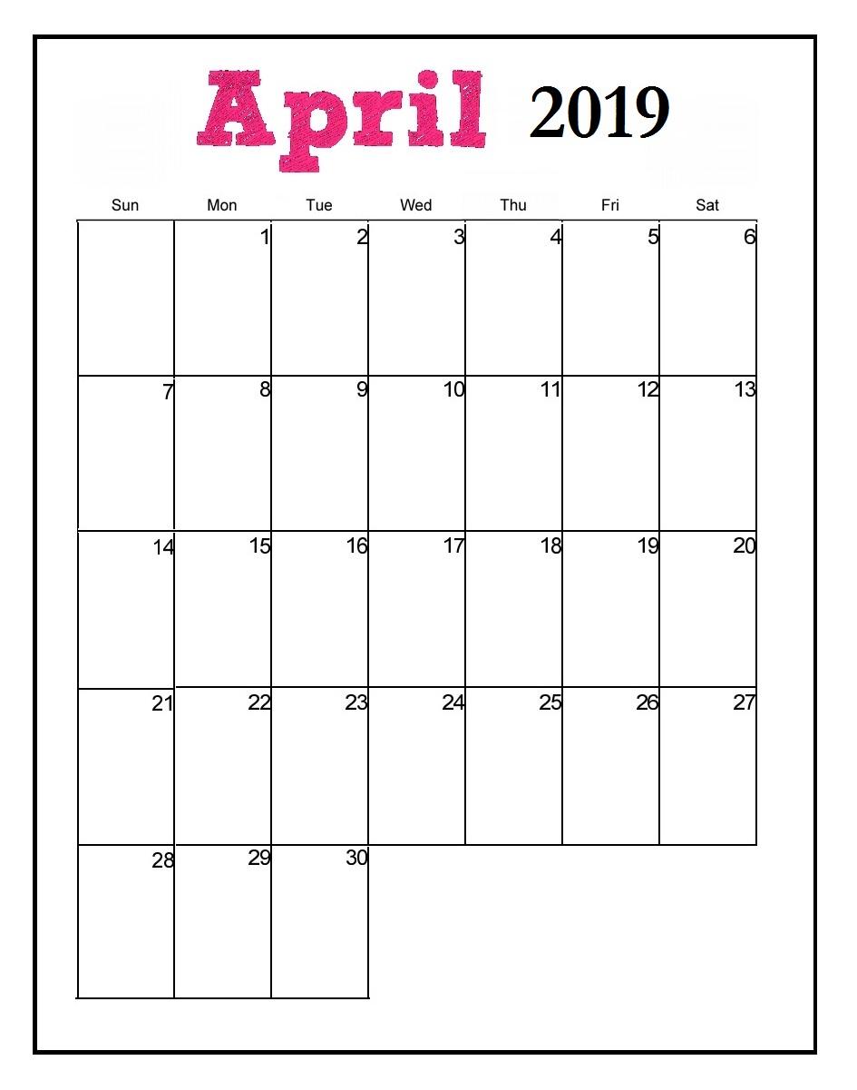 Printable April 2019 Wall Calendar