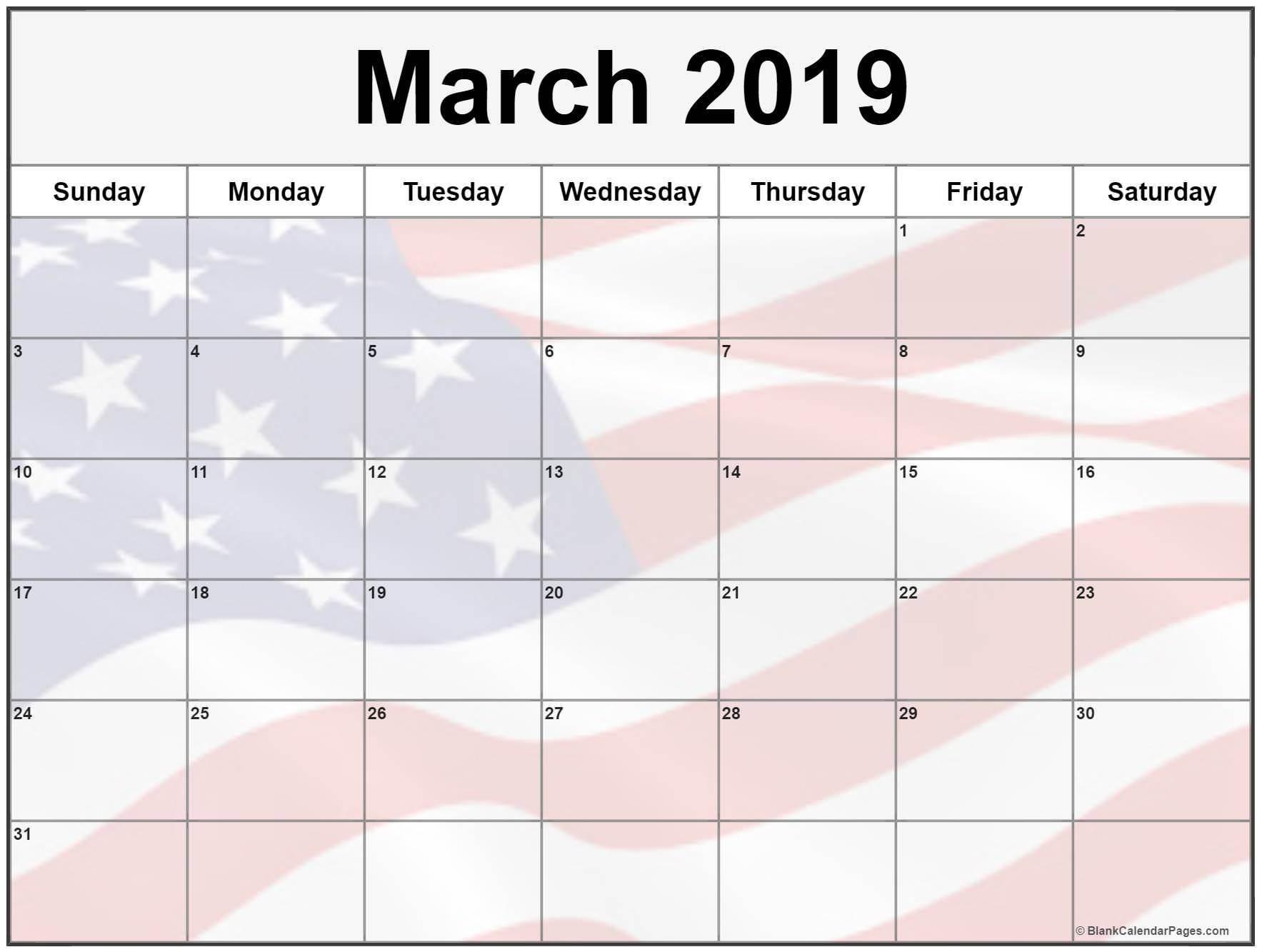 USA Holidays Calendar For March 2019