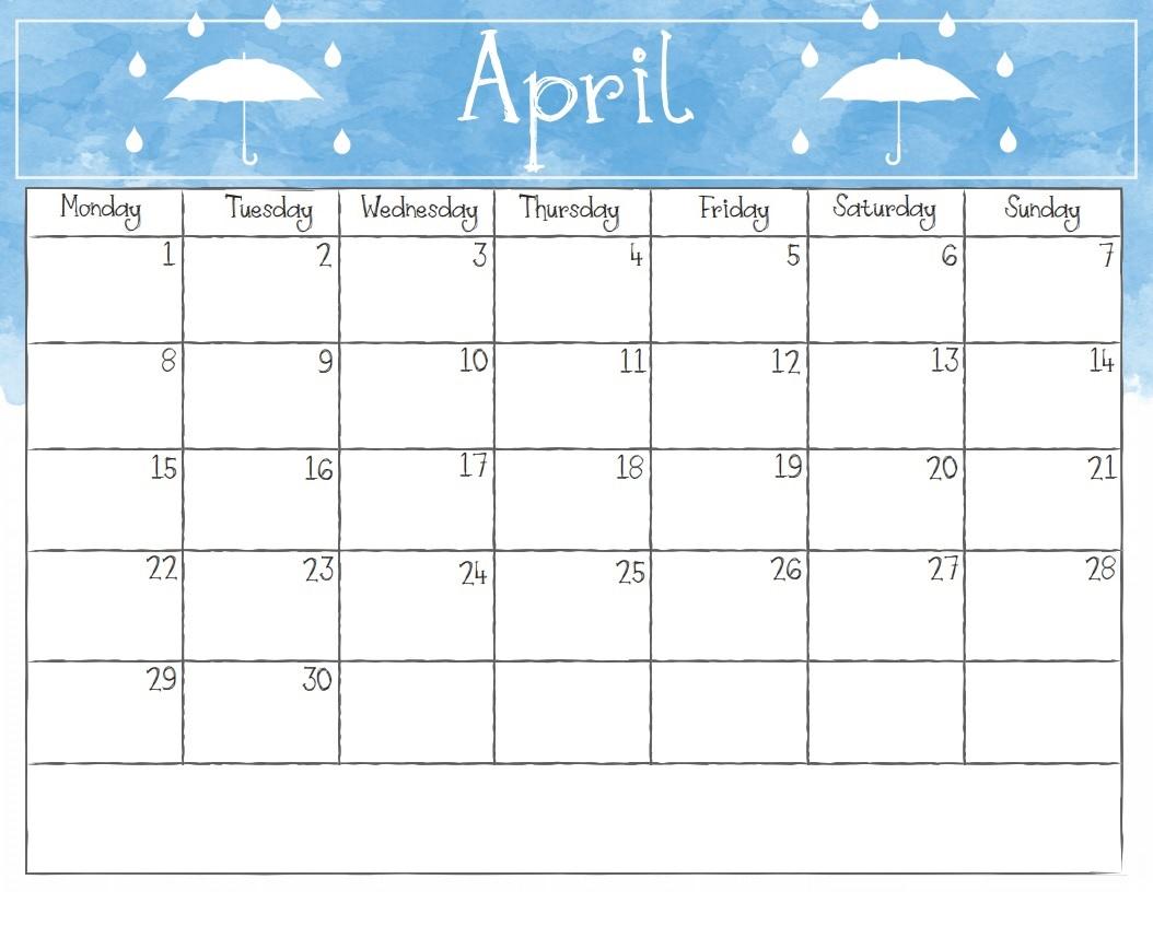 Watercolor April 2019 Calendar