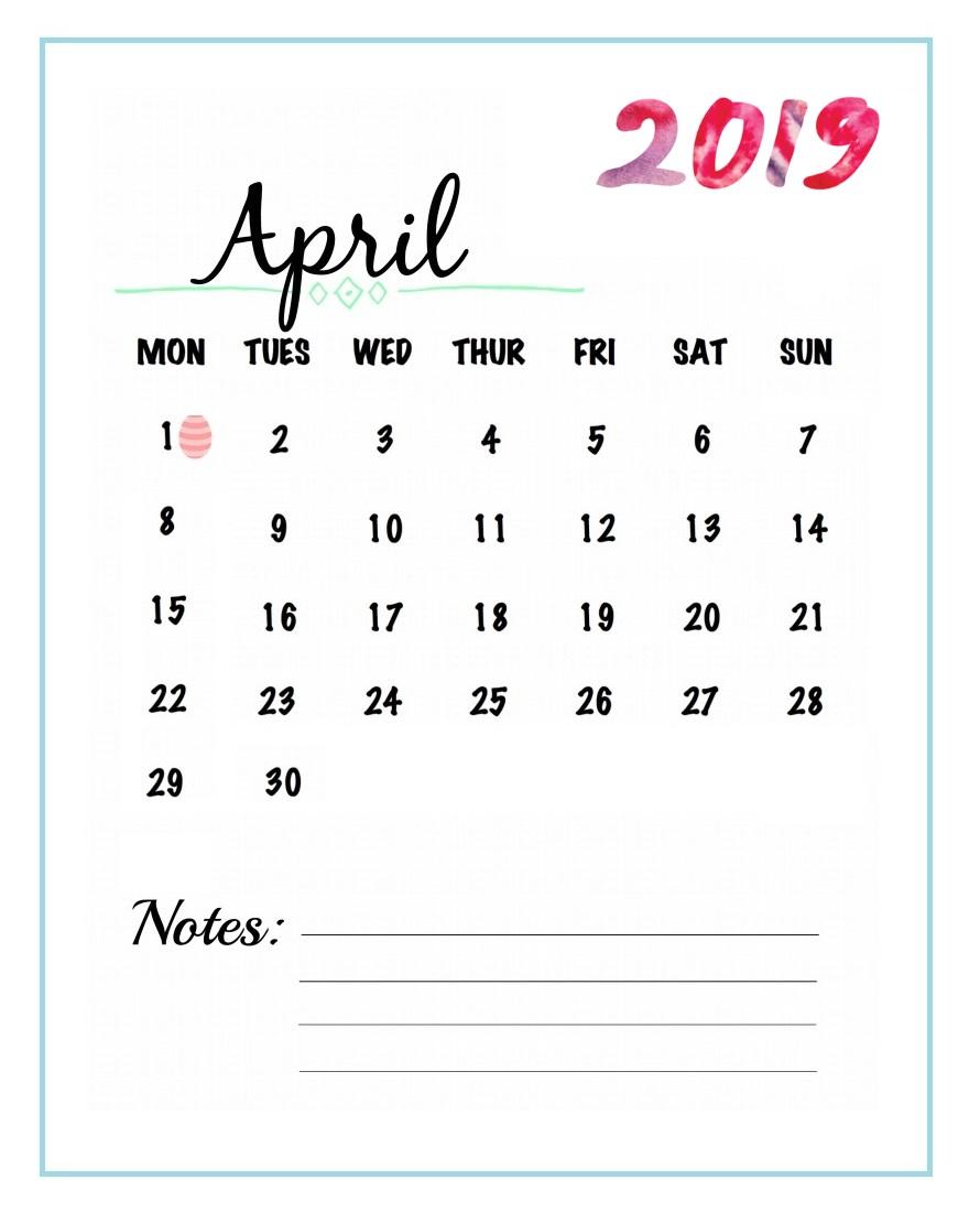 Watercolor April 2019 Wall Calendar