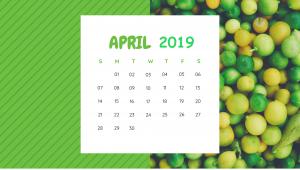 April 2019 Botanical Fruits Calendar