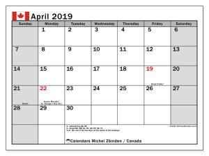 April 2019 Calendar Canada