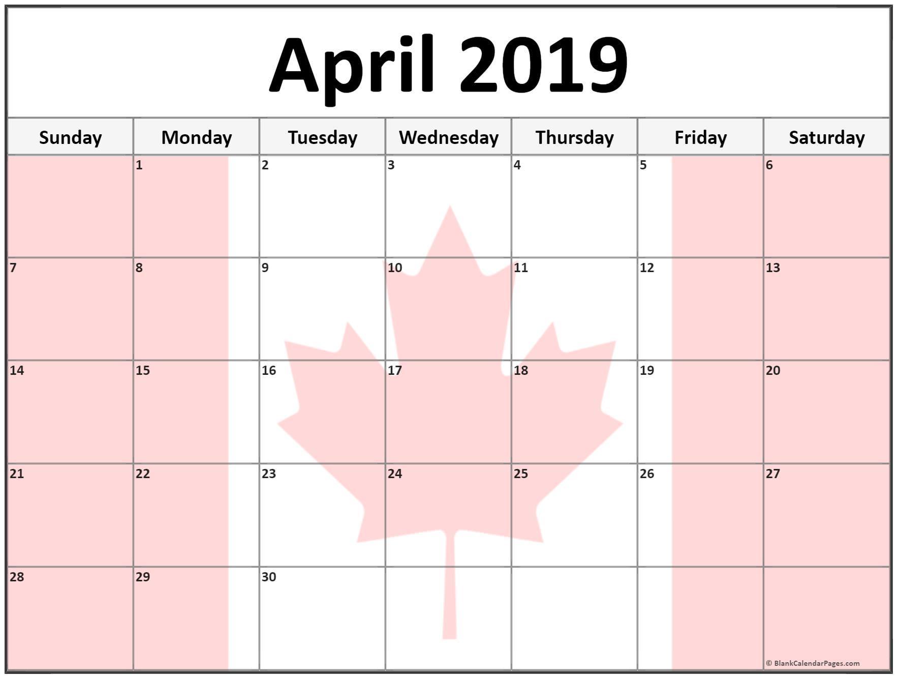 April 2019 Calendar Canada Printable