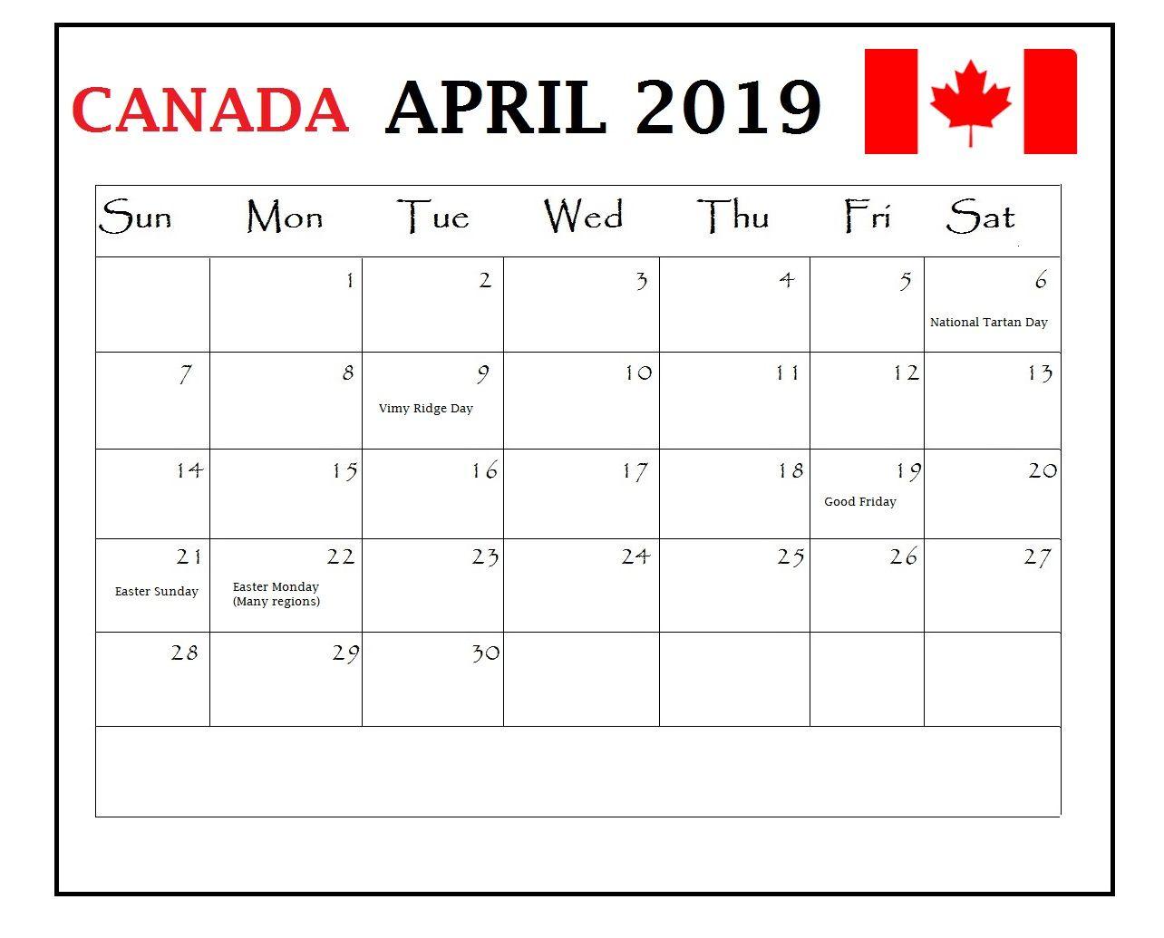 April 2019 Calendar Canada With Holidays