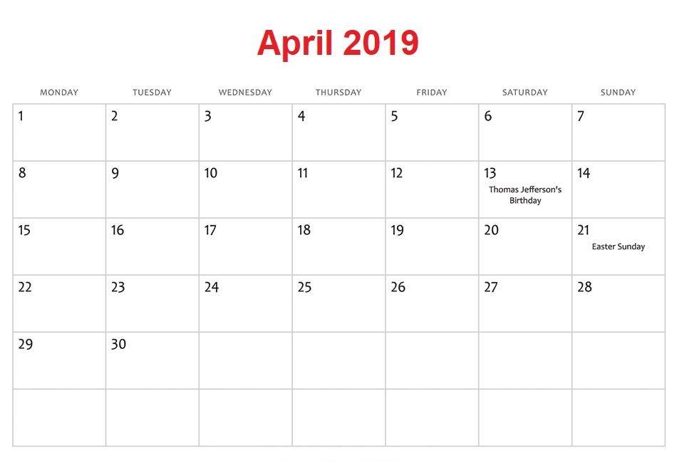 April 2019 Calendar USA