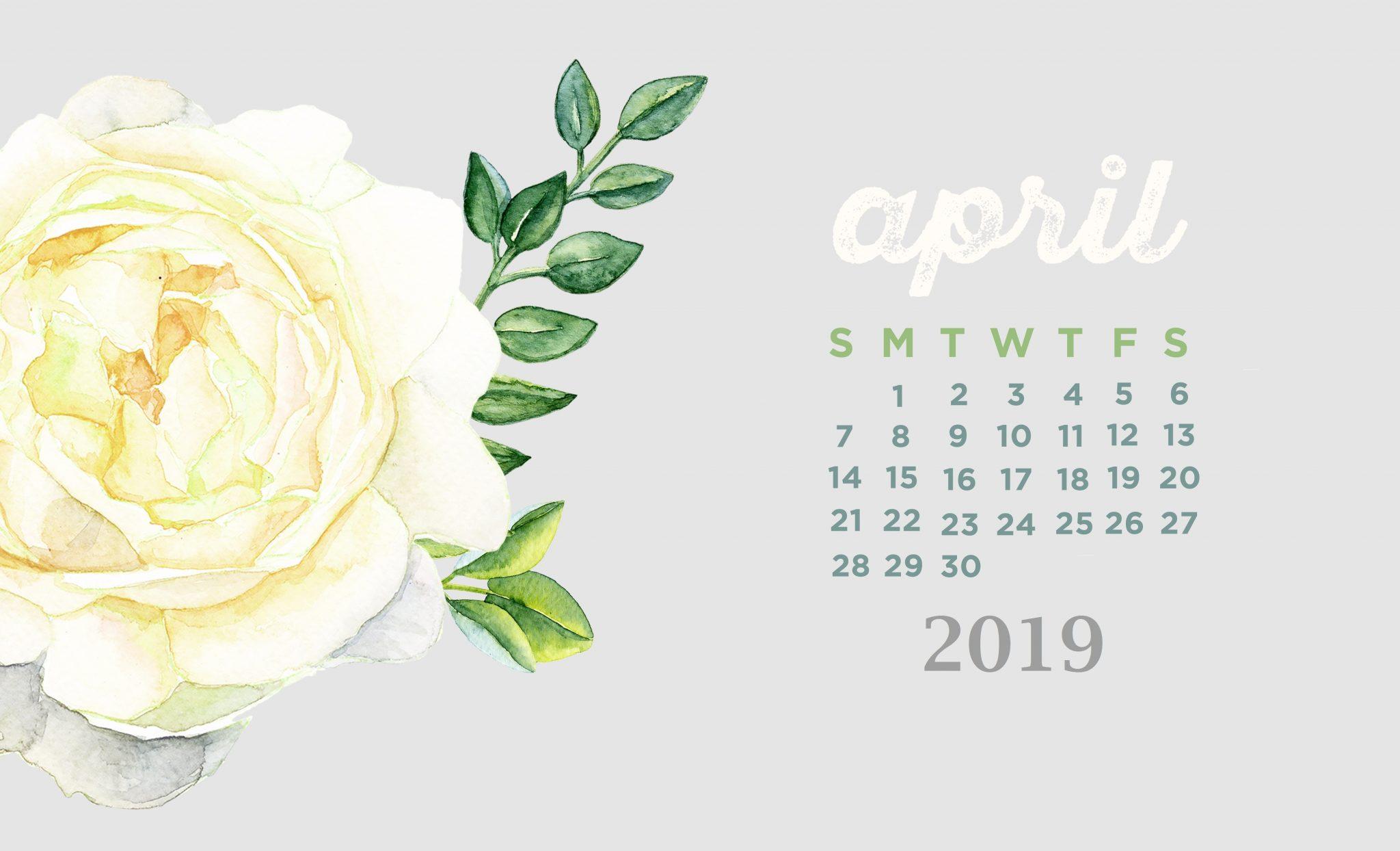 April 2019 Cute Calendar Template