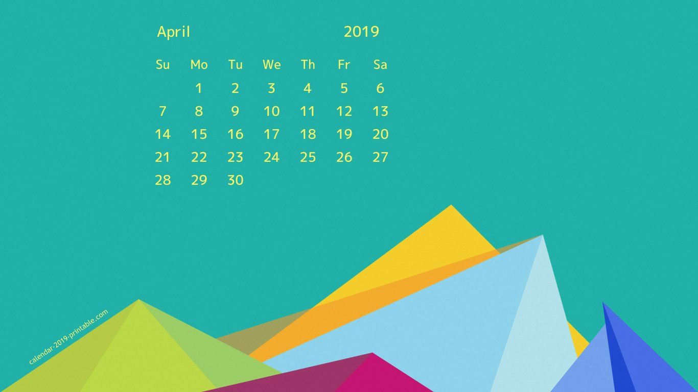April 2019 Desktop HD Calendar Wallpaper