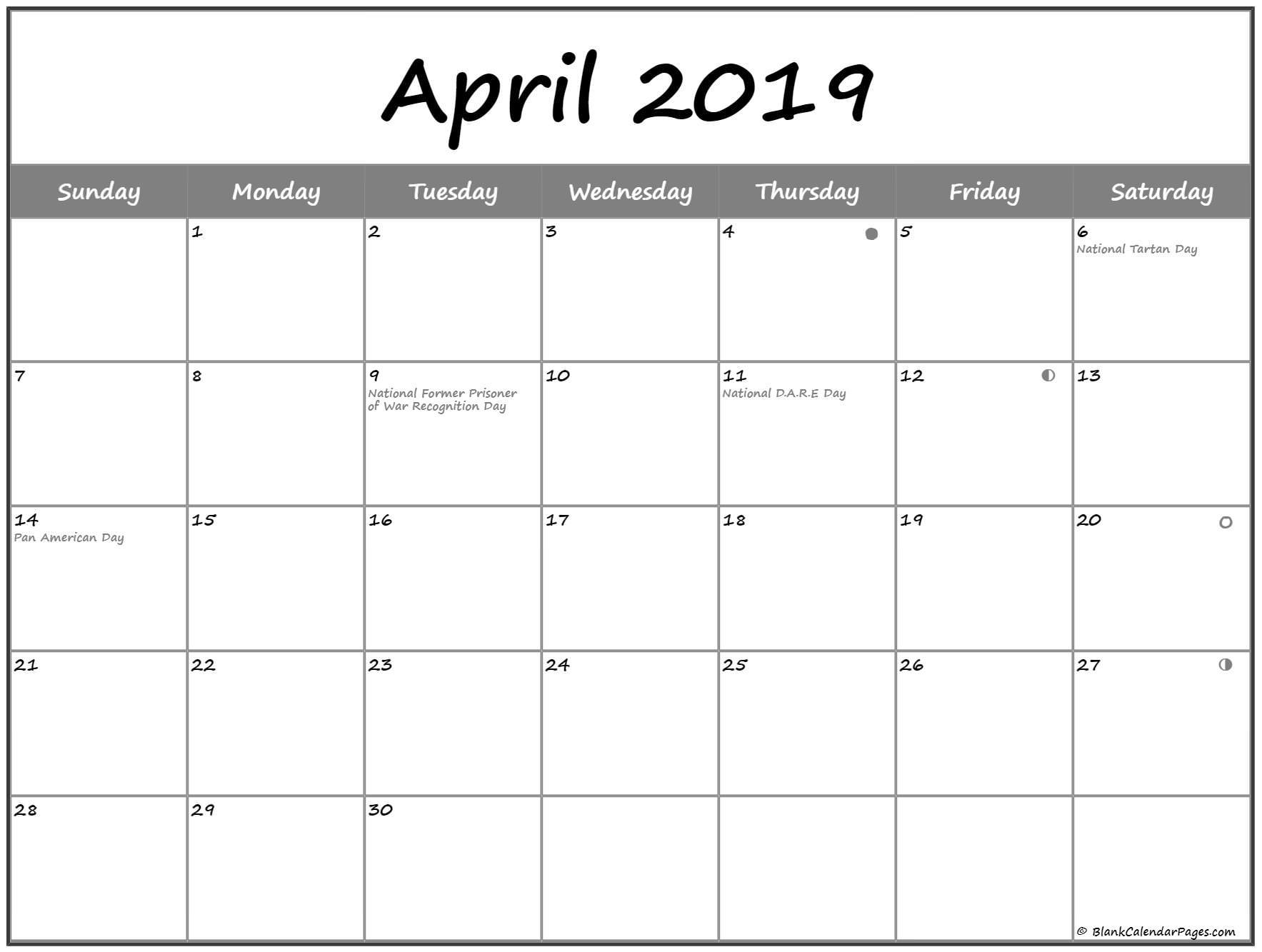 April 2019 USA Calendar With Holidays