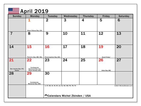 April 2019 USA Calendar